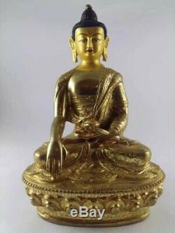 Master piece Handmade Gold plated Tibetan chinese Buddha statue Buddhism 8inch