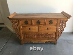 Ming Style Chinese Altar Cabinet with intricate carvings of dragons