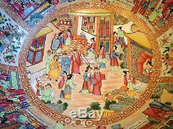 Monumental Antique Chinese Famille Rose Mandarin Punch Bowl