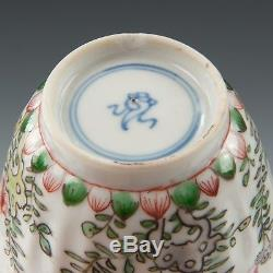 Nice Chinese Famille verte cup & saucer, 18th ct, Kangxi period, bird & flowers