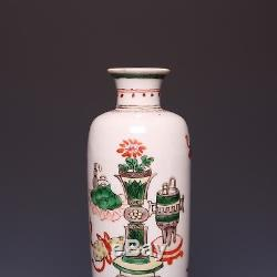 Nice Chinese Famille verte rouleau vase, 18th ct, Kangxi period, Antiques