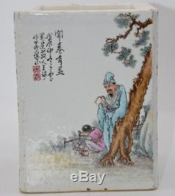 Nice Chinese Porcelain Famille rose Characters Brush Pot Pastel Pen holder X100