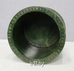 Nice Hand Carved Chinese Spinach Jade Brush Holder M2260