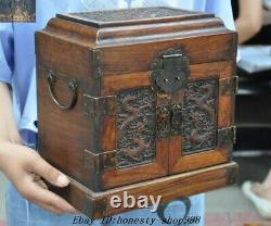 Old Chinese Dynasty Huanghuali Wood Carved Dragon storage Treasure chest cabinet