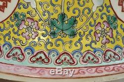 Old Chinese Famille Rose Jaune Porcelain Pot Planter Jardiniere Under Plate Mk