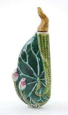 Old Chinese Famille Rose Porcelain Lotus Leaf Flower Shaped Snuff Bottle
