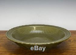 Old Chinese Longquan Celadon Glaze Large Dragon Porcelain Charger Plate
