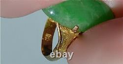 Old Chinese Natural Translucent Jadeite Jade Cabochon 14 Kt Gold Ring Sz 6.5