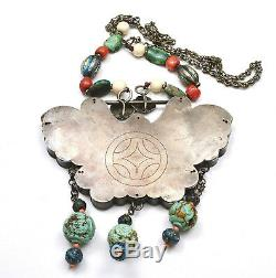 Old Chinese Sterling Silver Enamel Butterfly Lock Turquoise Coral Bead Necklace