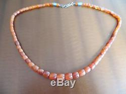 Old Chinese Tibetan Carnelian Carved Barrels Beads Necklace silver closer 24