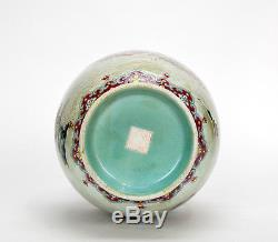 Old Chinese Turquoise Glaze Famille Rose 100 Boy Dragon Boat Porcelain Vase