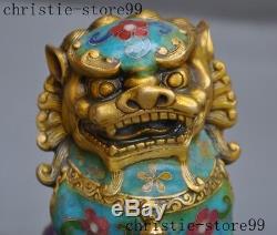 Old Chinese bronze Cloisonne Feng shui Auspicious Lion Foo dog Beast Statue Pair