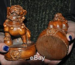 Old chinese Boxwood wood master hand carved foo dog lion rich animal statue pair