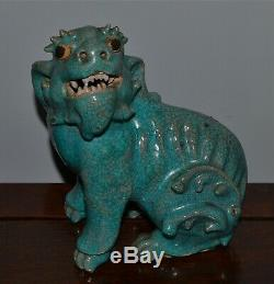 Old or Antique Chinese Turquoise-Glazed Crackleware Beast AS IS