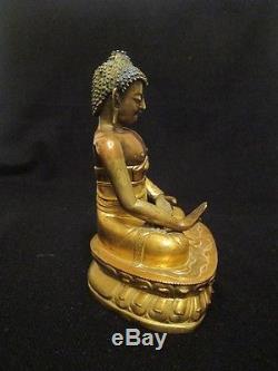 Old tibet buddhism Antique Chinese statue Buddha Shakyamuni Copper bronze gilded