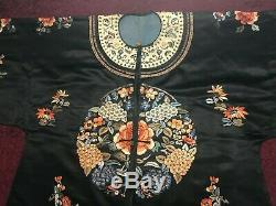 Outstanding Antique/ Vintage Chinese Embroidered Silk Robe Fine Embroidery