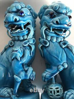 Pair (2) Antique Chinese Foo Dogs Shi Lions Turquoise Glaze FigureCHINESE MARK