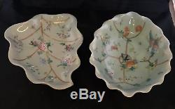 Pair Antique Chinese Famille Rose Celadon Porcelain Footed Dish Bowl Dish