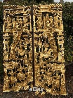 Pair Of 28 ANTIQUE CHINESE GILT WOOD CARVED PANEL Warrior SCENE HIGH RELIF
