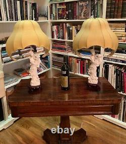 Pair of Magnificent Chinese Blanc de Chine Guan Yin Table Lamps