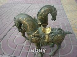 Qing Dynasty reproduction bronze gilt Horse Statue/ Sculpture A pair