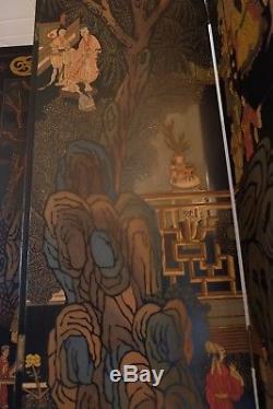 RARE CHINESE Coromandel Lacquer Wood Folding Screen