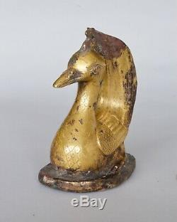 RARE Chinese Gilt Figure of Seated Bird, Han dynasty (206BC 220AD)