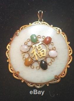 RARE ESTATE Vintage 14k Gold A Grade White Green Jadeite Jade Pendant CHINESE