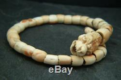 Rare Antique 18th/19th c Chinese Carved Coral/Conch Shell Dragon Bracelet Bangle