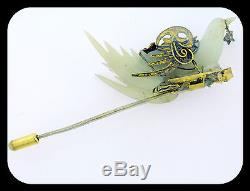 Rare Antique 19c Chinese 18k 14k Silver Carved White Jade Dove Pin Moveable Wing