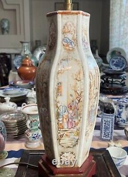 Rare Antique Chinese Famille Rose Mandarin Hexagon Vase Lamp 18th C