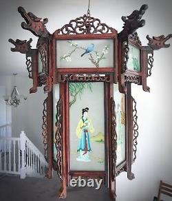 Rare Antique Chinese Zitan Hardwood Reverse Painted Glass Paneled Carved Lantern