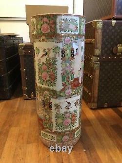 Rare Big Antique Chinese Umbrella Stand Famille Rose Porcelain Vase pottery