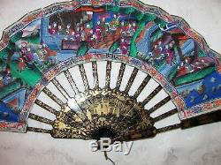 Rare Chinese Export Telescoping Fan with Applied Faces Original Box Circa 1850