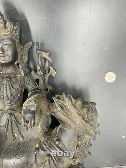 Rare Old Chinese Bronze Buddha On Qilin