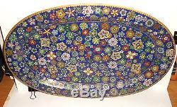 Rare Old Large Chinese Cloisonne Blue Enamel Millefleur Plate Platter Tray
