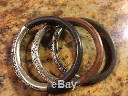 Rare Set Of 3 Antique Chinese Sterling & Rattan Bamboo Wood Bangle Bracelets-nr
