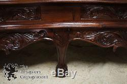 Rosewood Carved Chinese Chippendale China Cabinet Ball Claw Asian Bookcase Curio