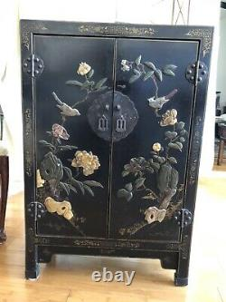 SET OF 2 Matching Antique Asian Chinese Black Lacquer Cabinets Stone Inlay