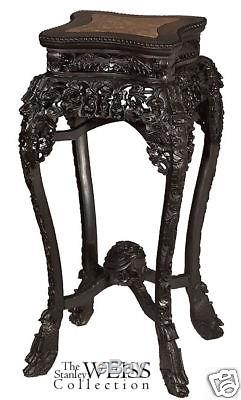 SWC-Pair of Carved Chinese Stands with Marble Insets 1890