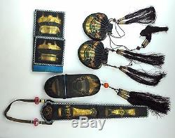 Set 5 Antique Chinese China Qing Silk Embroidery Gold Silver Purse Fan Case1900