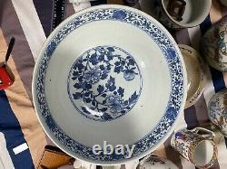 Superb 14 Large Antique Chinese Daoguang Blue And White Bowl
