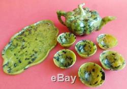 Superb Antique Moss Jade Chinese Tea Set Teapot Tray & Cups. 1900s