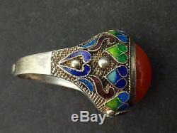 Superb Antique Vintage Sterling Silver Filigree Enamel Chinese Ring Carnelian