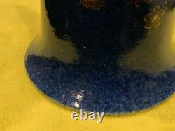 Tall Chinese Gold And Blue Glaze Porcelain Beaker