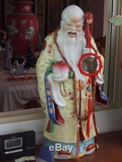 Three Large Sanxing Fu Lu Shou Chinese Porcelain Deity Statues