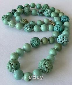 Turquoise Carved Dragon Bead Necklace Vintage Chinese Jewelry Lot