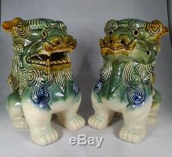 Two (2) Vintage Chinese Asian Glazed Ceramic Foo Dragon Dog Statues