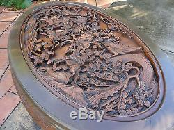 VINTAGE 50s MAJESTIC Co CHINESE OPENWORK CARVED ROSEWOOD TABLE & STOOL