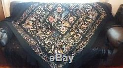 VINTAGE CHINESE HEAVY BLACK SILK EMBROIDERED PIANO SHAWL with LONG MACRAME FRINGE